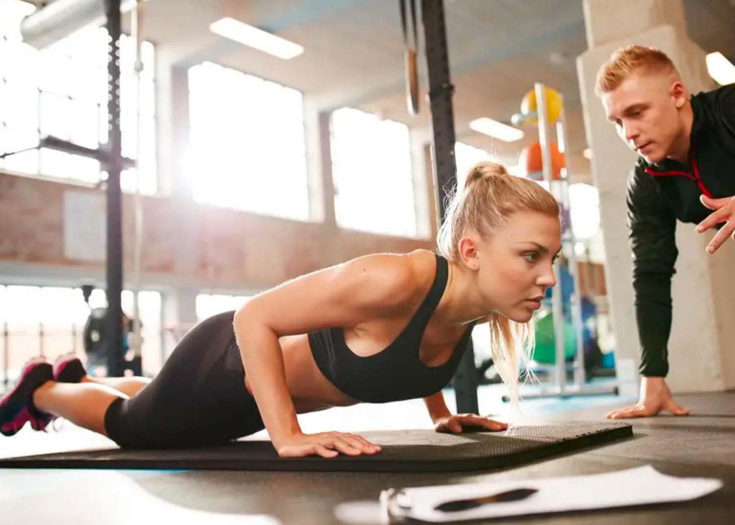 Envisagym Personal Training Gym Ranelagh Dublin From €139 Per Month InstaFit for Girls Blonde Girl Doing Pushups